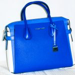 Michael Kors: Blue and White leather tote bag with optional shoulder strap included