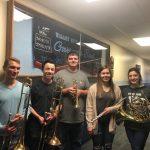 EDC/State Contest: L to R; James-Burkstate-star-on-trombone-Owen-Plagensstate-star-on-trombone-Justin-Roswickstate-star-on-cornet-Britta-Roehrichstate-star-on-flute-and-Alexa-Kjellandstate-star-on-french-horn.