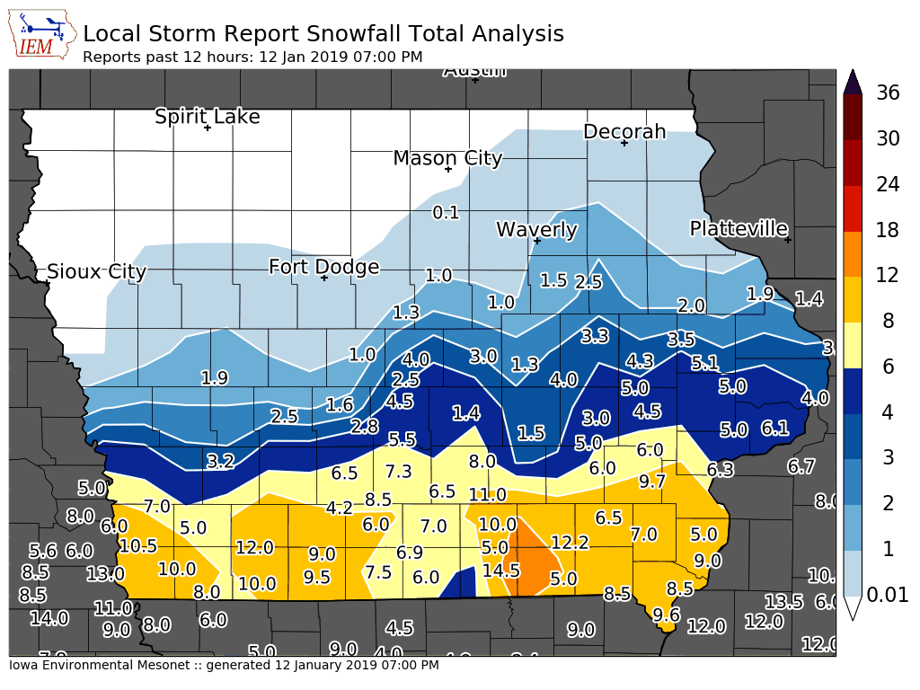 Snowfall Totals From Saturdays Winter Storm Knia Krls Radio The