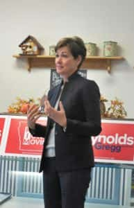 Governor Reynolds speaking a Dunkers by Matt event in Jefferson