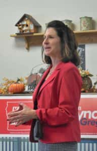 State Auditor Republican incumbent candidate Mary Mosimon addresses crowd at Jefferson event