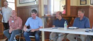 JD Scholten (left) speaking on a panel about agriculture issues in August