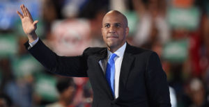 Senator Cory Booker waves during Day 1 of the Democratic National Convention at the Wells Fargo Center in Philadelphia, Pennsylvania, July 25, 2016. (Photo credit ROBYN BECK/AFP/Getty Images)