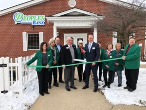 Photo of ribbon-cutting at Peoples Bank. Photo courtesy of Greene Co Chamber and Tourism