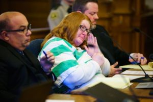 Misty Bousman-Ray at the plea hearing; photo by Brian Powers, Des Moines Register