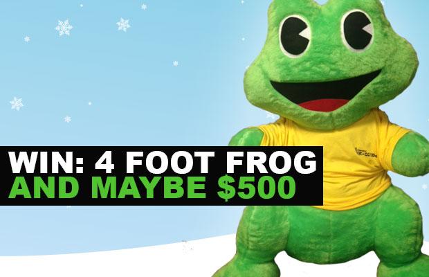 win a 4 foot frog beaver fm 96 7. Black Bedroom Furniture Sets. Home Design Ideas