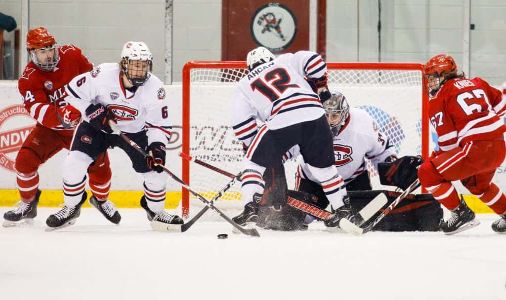 SCSU finishes undefeated at home, advances to NCHC