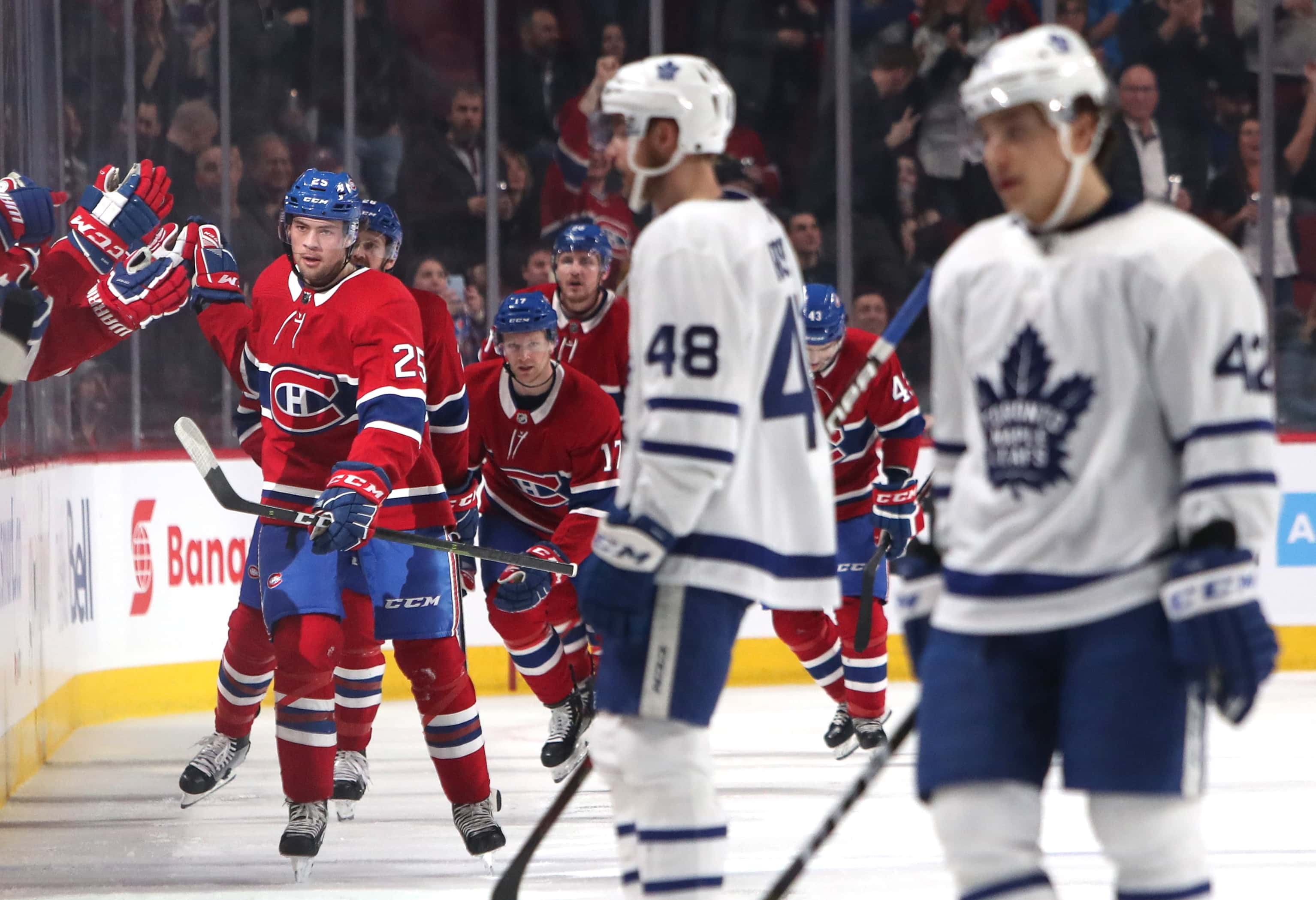 8fc6173d0 Montreal Canadiens center Ryan Poehling (25) celebrates with teammates after  scoring a goal Apr 6, 2019, against the Toronto Maple Leafs during the  second ...