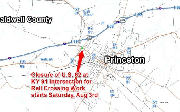 Reminder: US 62 to Close at KY 91 Intersection Saturday