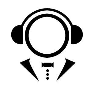 Black-and-white logo of person in bowtie listening to headphones