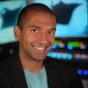Portrait of radio host in studio