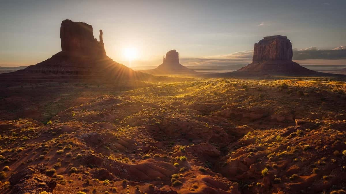 A desert sunrise over Monument Valley, Arizona