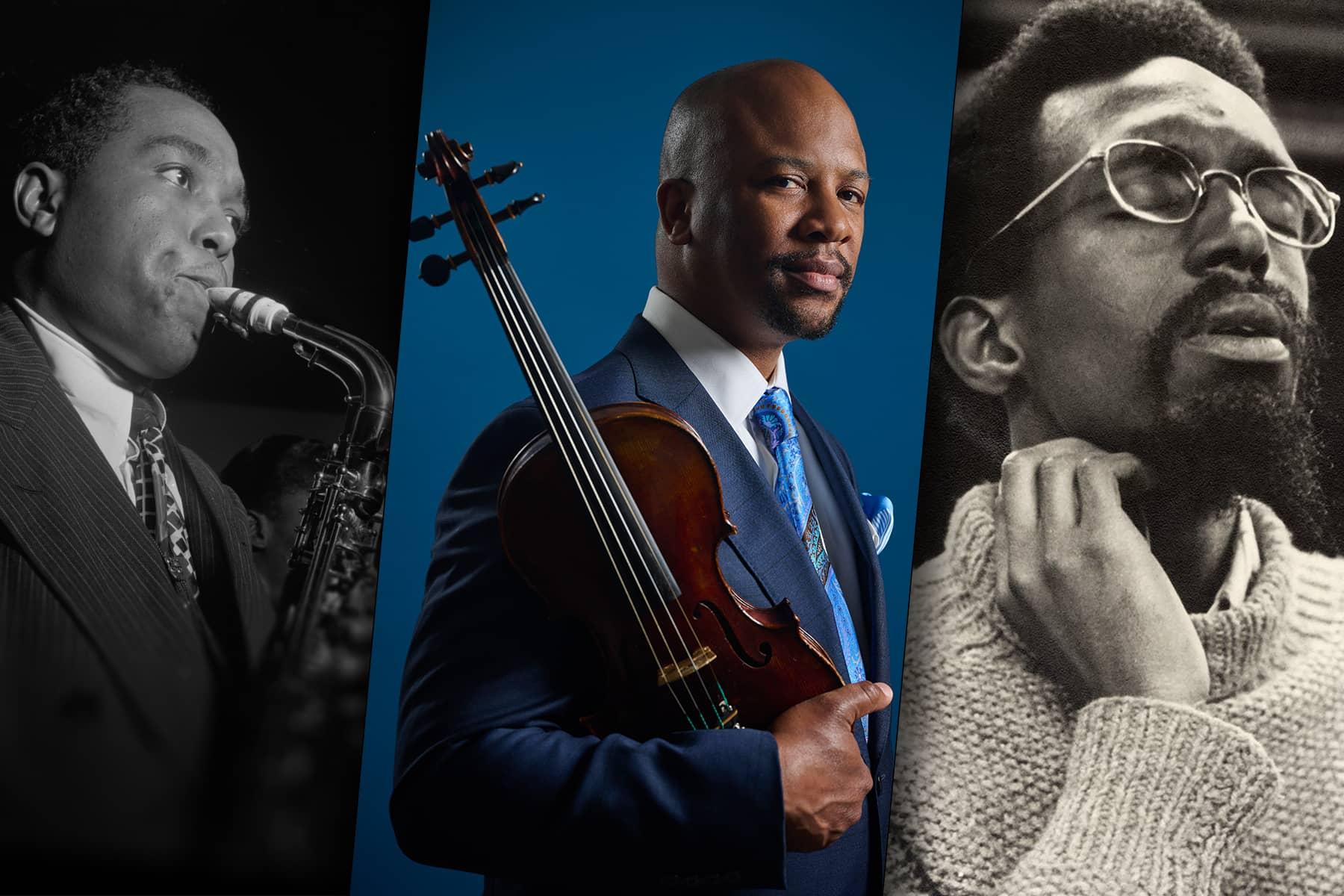 Images of Charlie Parker, Dr. Quinton Morris, and Julius Eastman.