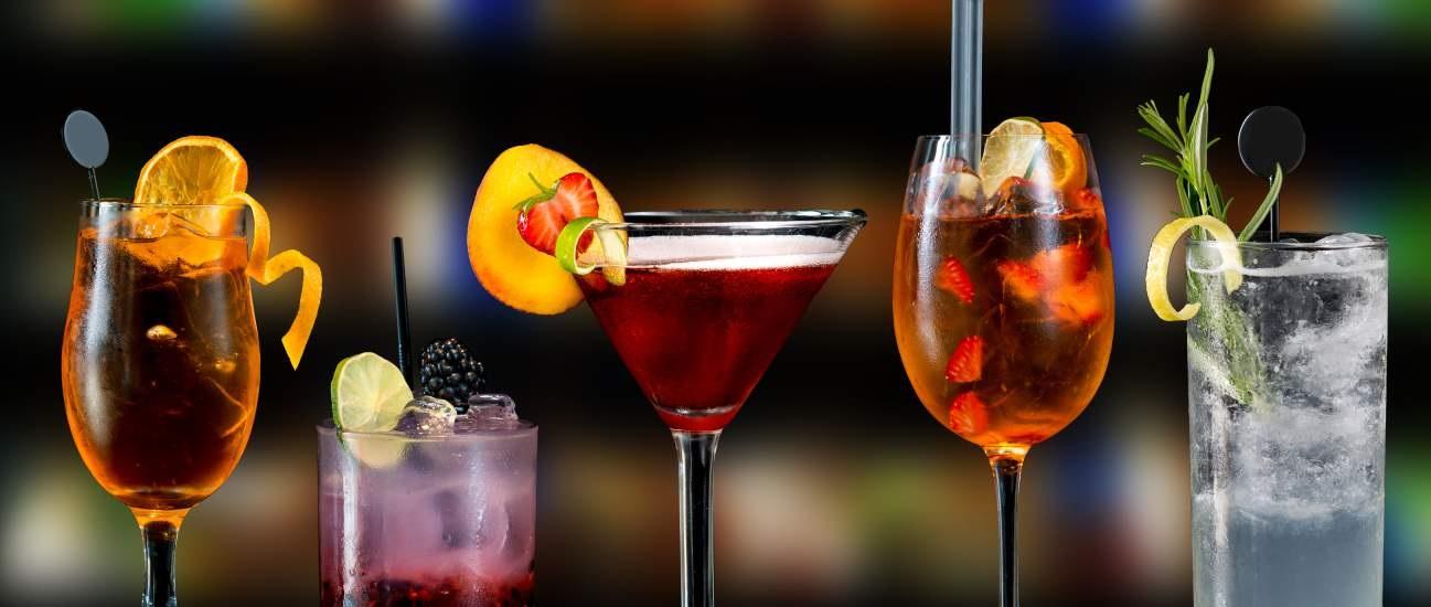 Five colorful cocktails