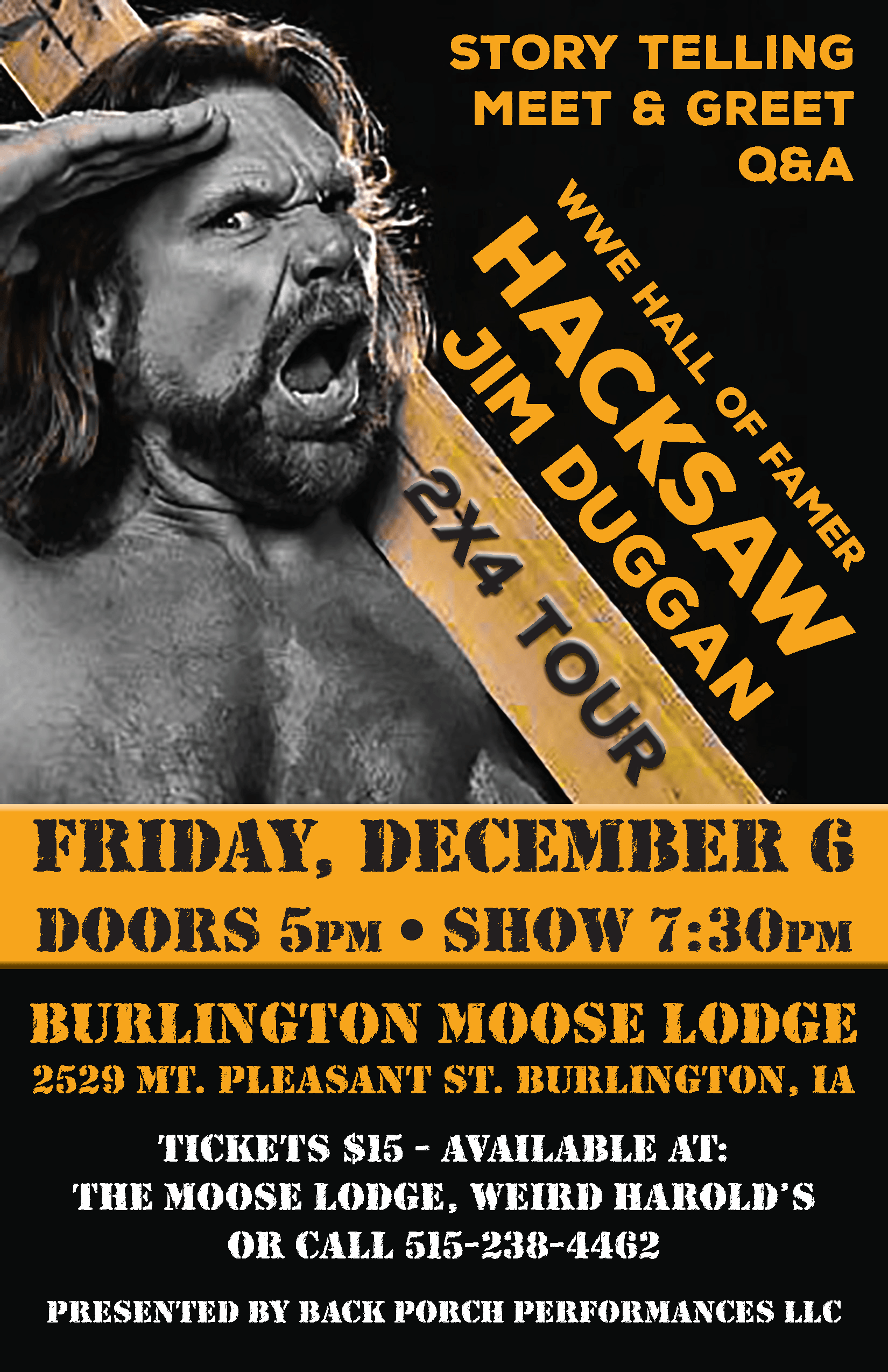 Jim Duggan Meet and greet at the Moose Lodge in Burlington on December 6th at 7:30 PM. Presented by Back Porch Performances LLC