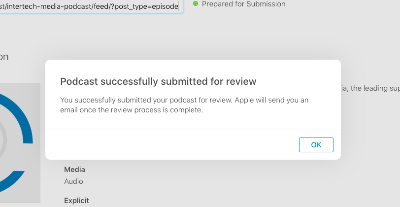 submit to apple podcasts popup
