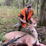 "layla-knevel: 11 yr old Laila Knevel, her 4th year in a row to shoot a nice buck! 120"" 9 pointer— in full velvet!"