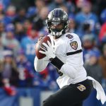 Baltimore Ravens vBuffalo Bills: ORCHARD PARK, NEW YORK - DECEMBER 08: Lamar Jackson #8 of the Baltimore Ravens looks to pass during the first half against the Buffalo Bills in the game at New Era Field on December 08, 2019 in Orchard Park, New York. (Photo by Bryan M. Bennett/Getty Images)