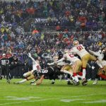 San Francisco 49ers vBaltimore Ravens: BALTIMORE, MD - DECEMBER 01: Justin Tucker #9 of the Baltimore Ravens kicks the game winning field goal against the San Francisco 49ers in the second half at M&T Bank Stadium on December 1, 2019 in Baltimore, Maryland. (Photo by Scott Taetsch/Getty Images)