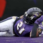 Houston Texans vBaltimore Ravens: BALTIMORE, MARYLAND - NOVEMBER 17: Mark Ingram #21 of the Baltimore Ravens lays in the end zone after scoring a third quarter touchdown against the Houston Texans at M&T Bank Stadium on November 17, 2019 in Baltimore, Maryland. (Photo by Rob Carr/Getty Images)