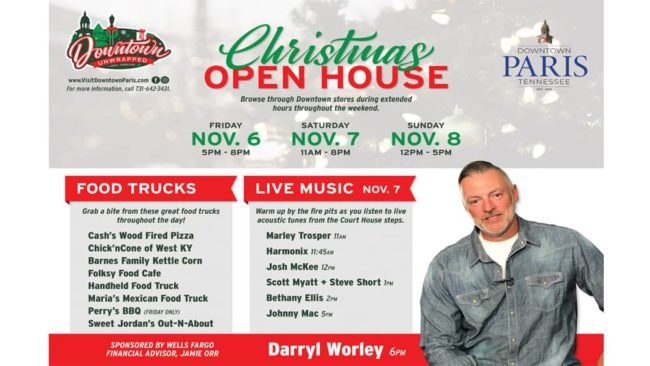 Darryl Worley to Play During Christmas Open House Downtown Paris