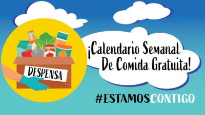 !Calendario Semanal De Comida Gratuita! #Estamos Contigo_ Dibujo de Caja de Despensa con alimentos