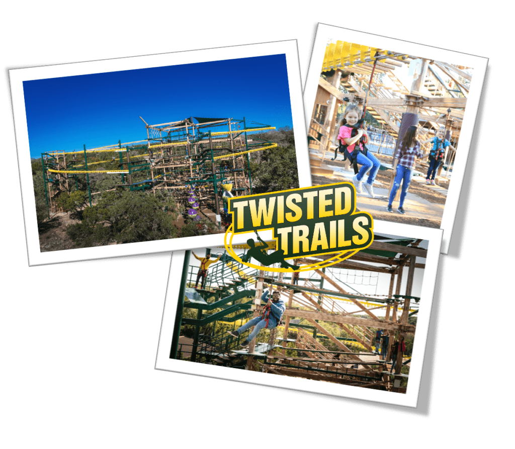 Kid and Adult on a Zip Line at Twisted Trails