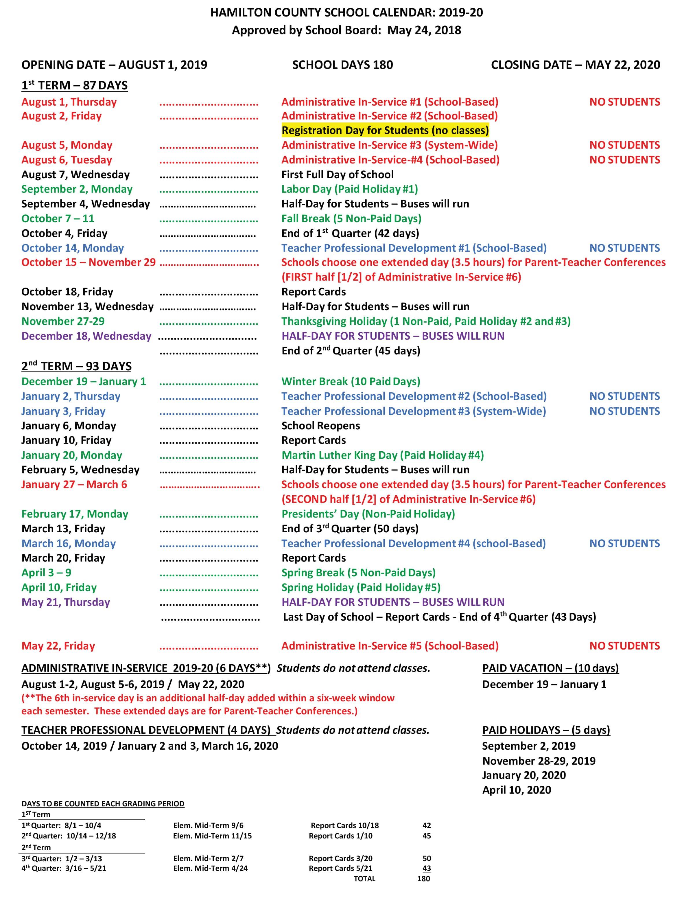 Hamilton Calendar February 2019 Hamilton County School Calendar 2019 20 | WJTT POWER94