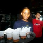 Martell waitress holding drinks