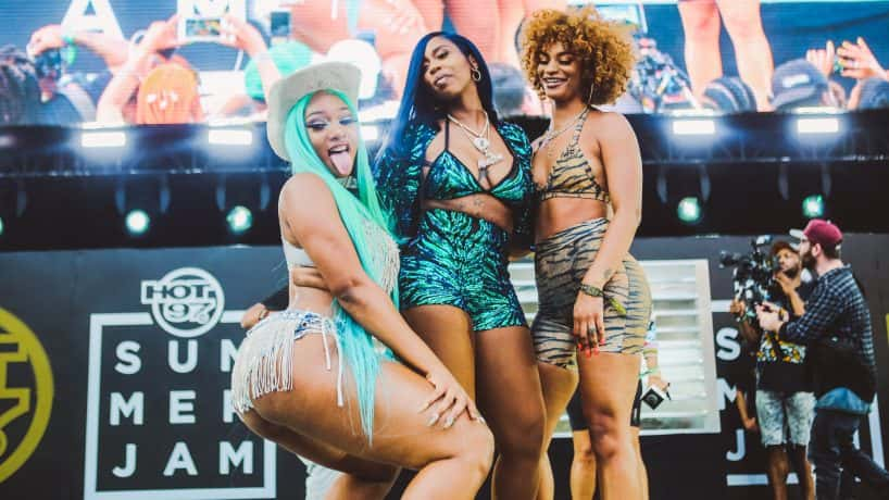 Megan Thee Stallion, Kash Doll, and Melii at 2019 hot 97 summer jam on the main stage
