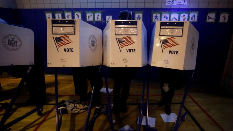 NOVEMBER 06: Voters cast their ballots during the midterm election during the midterm election at the Tribeca Indepence Primary