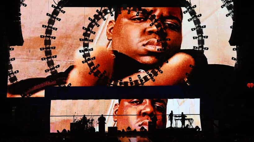 Notorious B.I.G. on two large screens