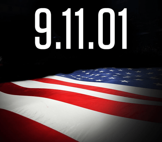 9.11.01 over an American Flag