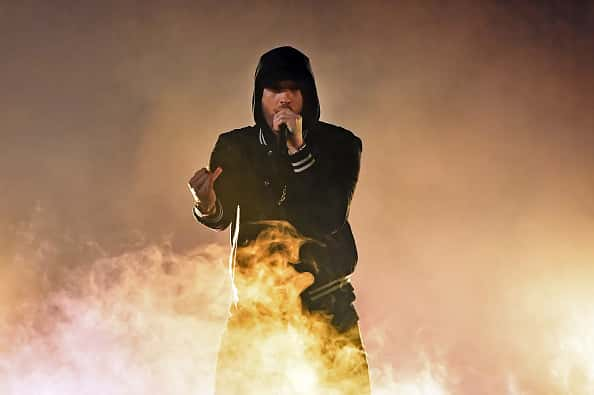 Eminem performs onstage during the 2018 iHeartRadio Music Awards which broadcasted live on TBS, TNT, and truTV at The Forum on