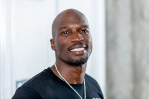 Chad Ochocinco Johnson smiling at the camera