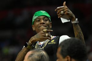 LOS ANGELES, CA - MARCH 15: Rapper Soulja Boy takes selfies during a game between the Los Angeles Clippers and Chicago Bulls at Staples Center on March 15, 2019 in Los Angeles, California. NOTE TO USER: User expressly acknowledges and agrees that, by downloading and or using this photograph, User is consenting to the terms and conditions of the Getty Images License Agreement.(Photo by John McCoy/Getty Images)