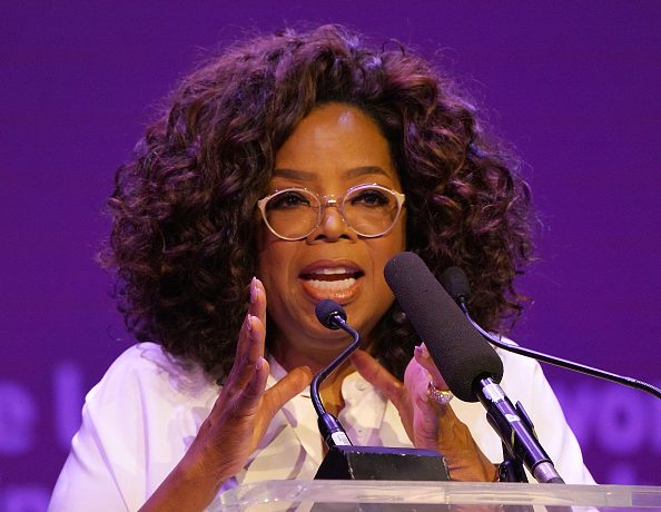 Media personality and activist Oprah Winfrey speaks during The Dignity of Women Conversation at The University of Johannesburg o