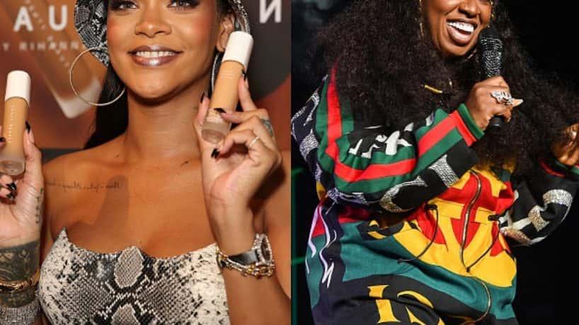 left, pop singer Rihanna, right, hip hop icon missy Elliot