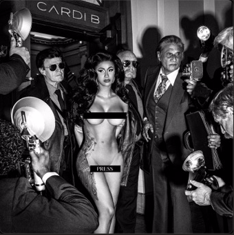 Black and White image of Cardi B's latest single cover