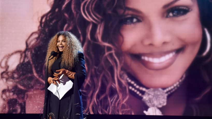 Janet Jackson on stage during Rock and Roll Hall of fame