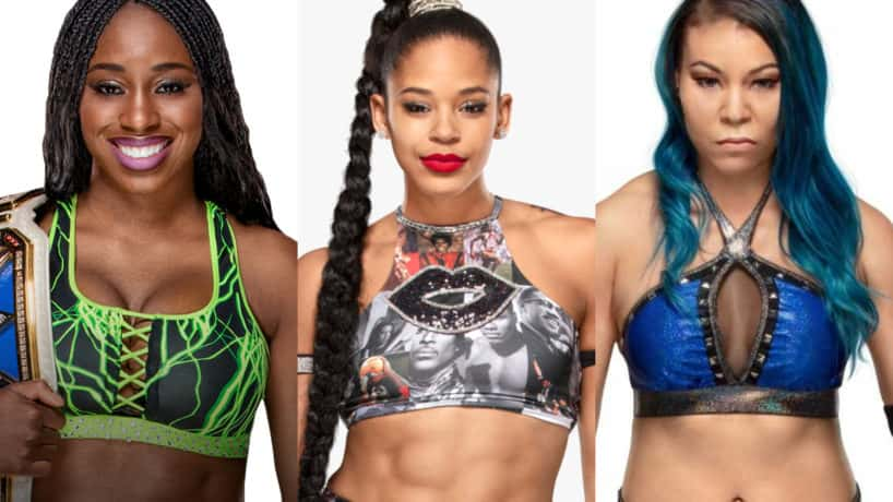 Women Of WWE, Naomi, Bianca Belair, & Mia Yim pose