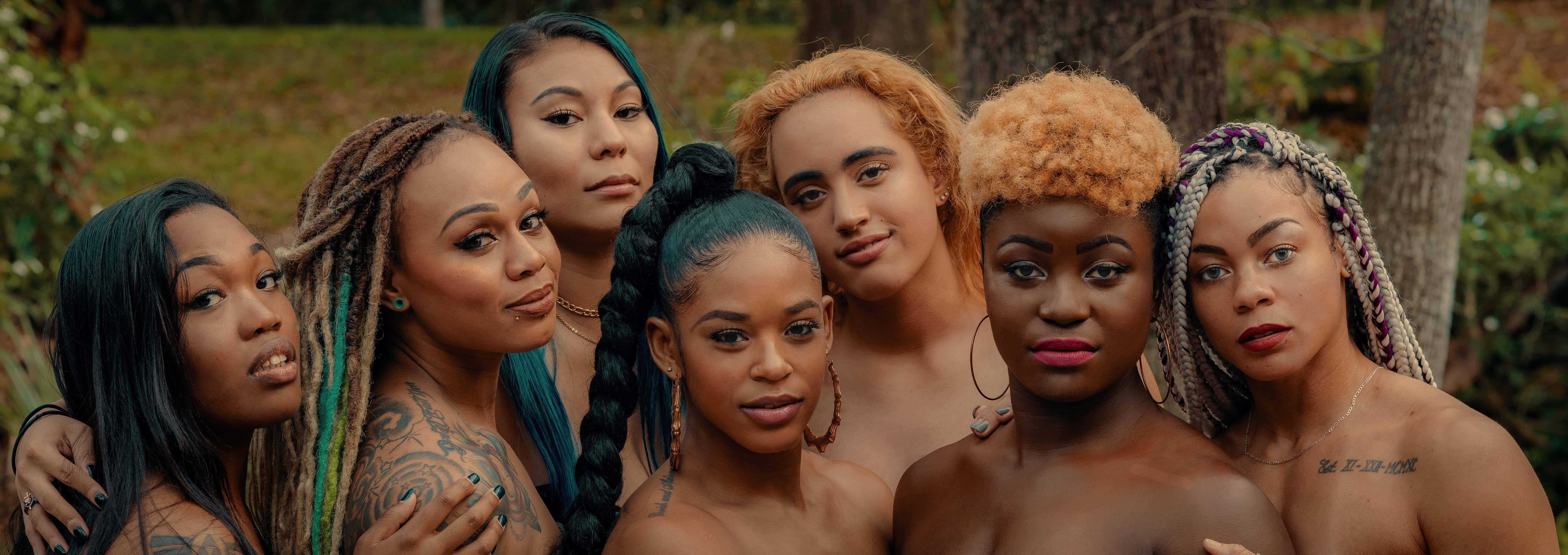 Head shots of Black women in WWE