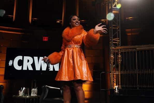 NEW YORK, NEW YORK - MARCH 10: Megan Thee Stallion speaks onstage at #CRWN A Conversation With Elliott Wilson And Megan Thee Stallion at Gotham Hall on March 10, 2020 in New York City.