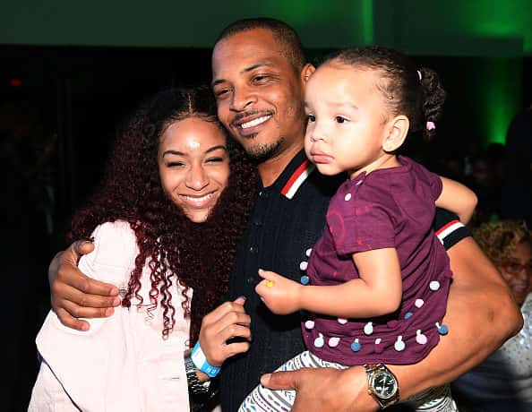 "ATLANTA, GA - JULY 19: Deyjah Harris, Tip ""T.I"" Harris and Heiress Diana Harris attend ""The Grand Hustle"" Exclusive Viewing Party at The Gathering Spot on July 19, 2018 in Atlanta, Georgia."