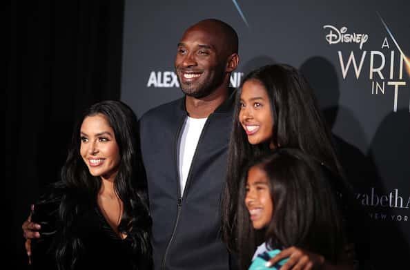 "LOS ANGELES, CA - FEBRUARY 26: Kobe Bryant (2nd L) and his family attend the premiere of Disney's ""A Wrinkle In Time"" at the El Capitan Theatre on February 26, 2018 in Los Angeles, California."