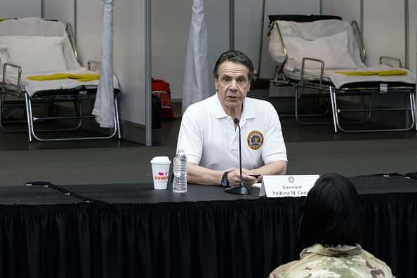 New York Gov Andrew Cuomo gives a daily coronavirus press conference in front of media and National Guard members at the Jacob K. Javits Convention Center, which is being turned into a hospital to help fight coronavirus cases on March 27, 2020 in New York City. Cuomo will be requesting authorization for four additional hospital sites amid COVID-19 coronavirus outbreak.