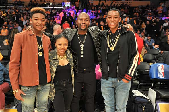 Koraun Mayweather, Iyanna Mayweather, Floyd Mayweather, Jr. and Zion Mayweather attend a basketball game between the Los Angeles Lakers and the Los Angeles Clippers at Staples Center on October 19, 2017 in Los Angeles, California.