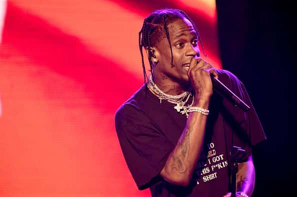 NEW YORK, NY - JUNE 02: Travis Scott performs on stage on Day 2 of the 2018 Governors Ball Music Festival on June 2, 2018 in New York City.