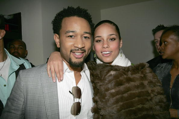 """NEW YORK- APRIL 21: Musicians John Legend and Alicia Keys attend the wrap party for Keys' """"Diary Tour"""" at Blvd April 21, 2005 in New York City."""