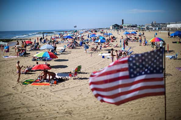 People visit the beach during Memorial Day weekend on May 26, 2019 in Asbury Park, New Jersey. Memorial Day is the unofficial start of summer and this year New Jersey has banned smoking and vaping on nearly every public beach under tougher new restrictions.